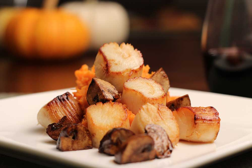 Seared Scallops with Sweet Potato Puree